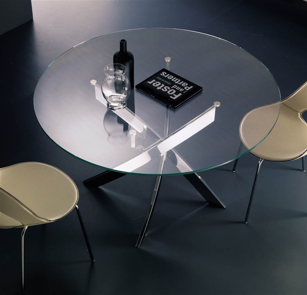 Barone Contemporary Table w Round Clear Glass Top