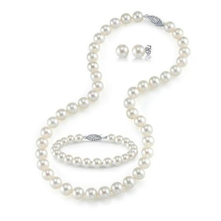 14K Gold 8-9mm White Freshwater Cultured Pearl Necklace, Bracelet & Earrings Set, 17