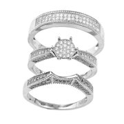 Real 925 Sterling Silver Round Flat Pave Three Ring Set Sizes 6-9 (8)