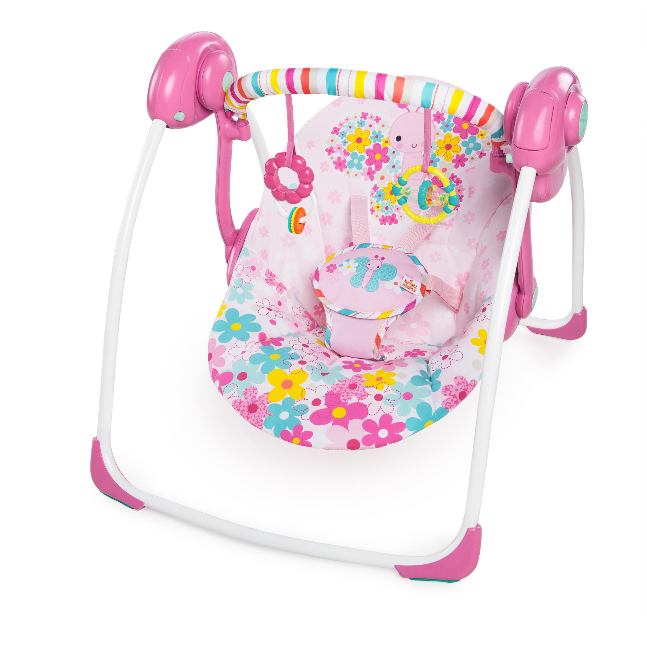 Bright Starts Pretty In Pink Butterfly Cutouts Portable Swing