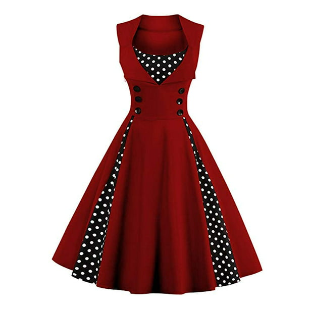 Women's Polka Dot Retro Vintage Style Cocktail Party Swing Dress