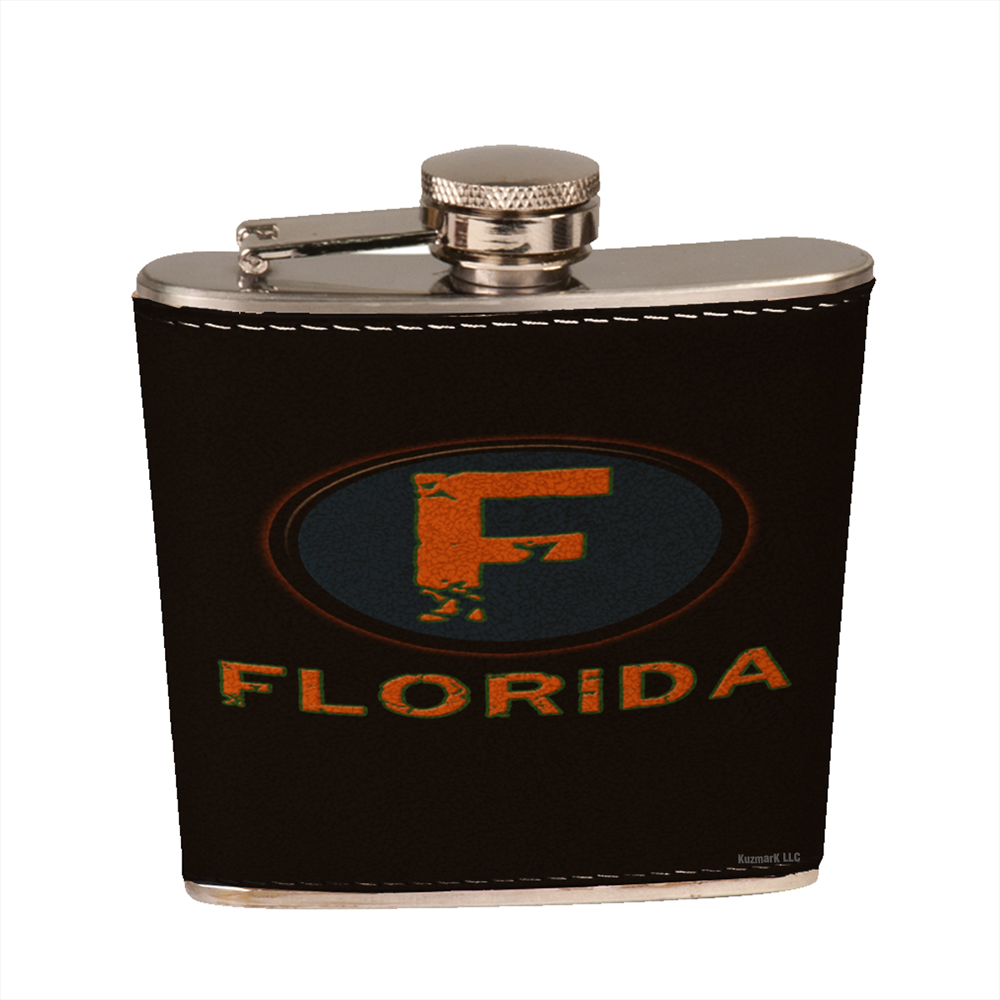 KuzmarK 6 oz. Leather Pocket Hip Liquor Flask - Florida Orange