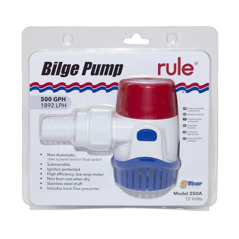 Rule 500 GPH Bilgepumpe 12V Rule 25DA