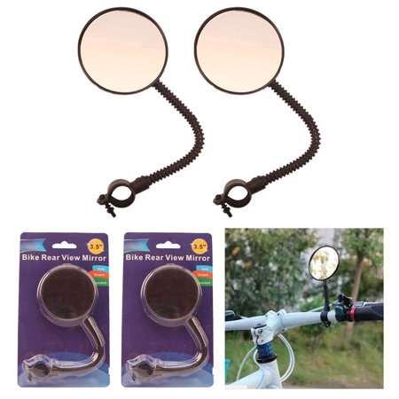 2 Bike Rear View Mirror Flexible Handlebar Glass Cycling Blind Spot Bicycle Safe