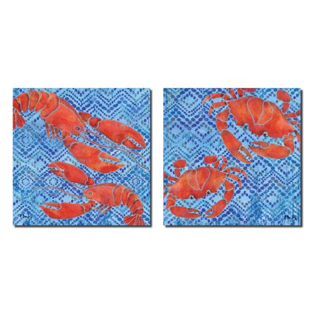 - Retro Jubilee Crab and Lobster Set; Two 12X12 Poster Prints. Red/Blue