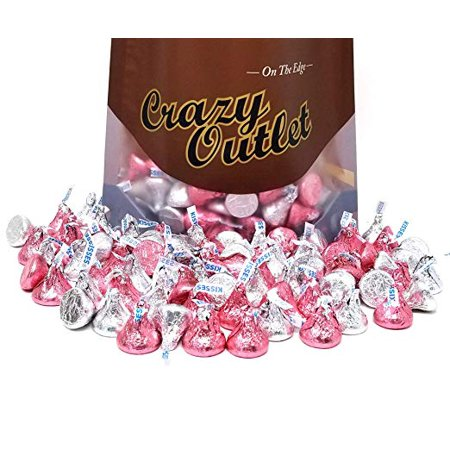 Hershey's Kisses Milk Chocolate, Silver and Pink Foil, 2 pounds bag (Pink Chocolate)