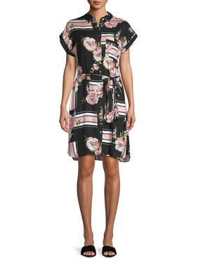9ee07225c9f2 Product Image Floral Stripe Collage Shirt Dress