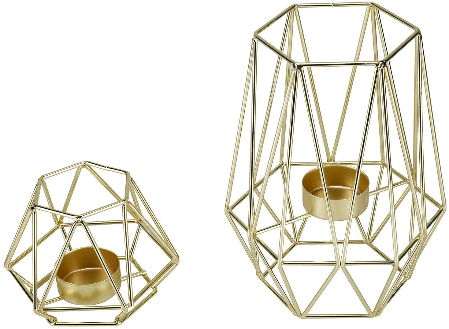 Gold Homtone Metal Wire Iron Tealight Candle Holders for Tables Decor Living Room Bathroom Decorations Gold Geometric Shape Holders Set of 2