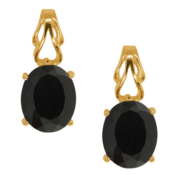 3.26 Ct Oval Black Onyx Gold Plated Sterling Silver Earrings