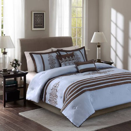 Better homes and gardens blue and brown damask stripes - Better homes and gardens comforter sets ...