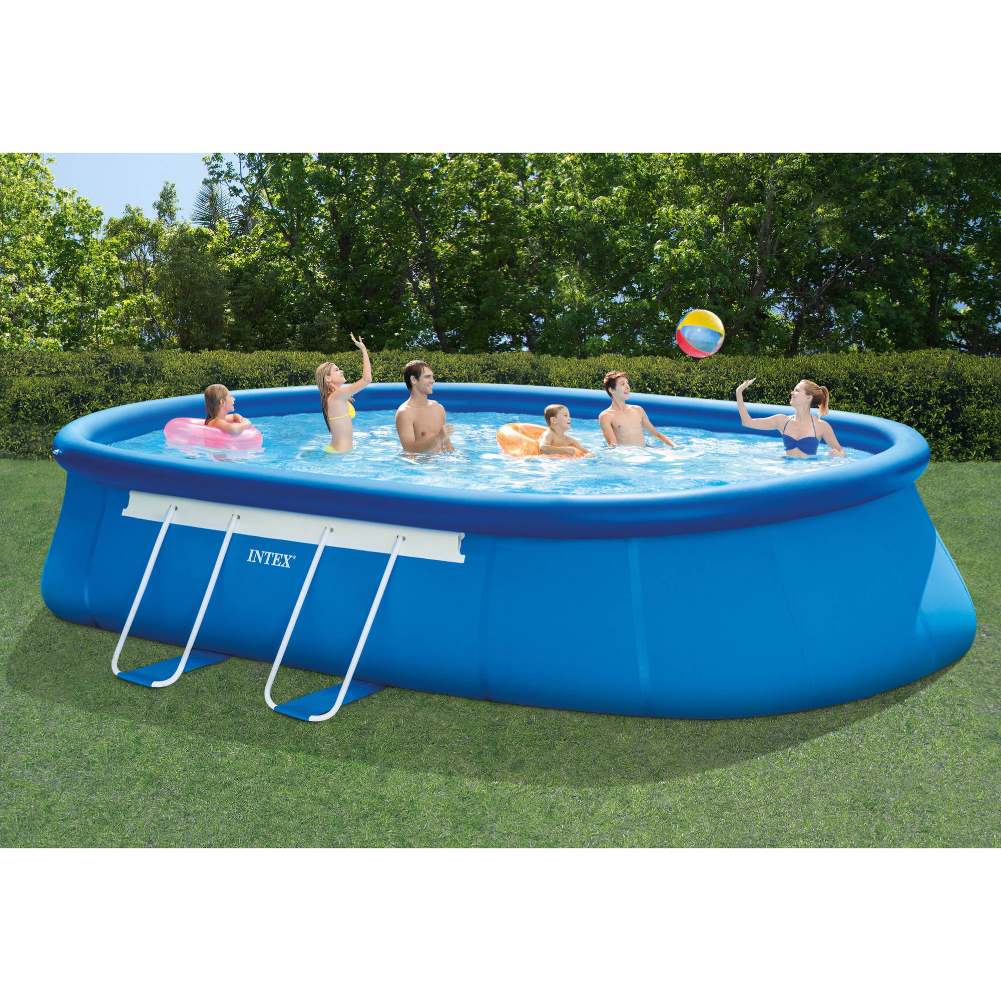Intex 20 39 X 12 39 X 48 Oval Frame Above Ground Swimming Pool With Filter Pump By Intex At Garden