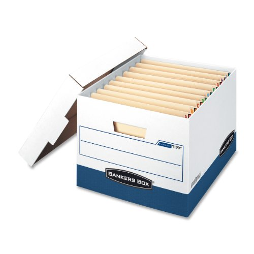 "Bankers Box Stor/file End Tab - Letter/legal - Stackable - Heavy Duty - 10.5"" Height X 13.3"" Width X 16.9"" Depth External Dimensions - White, Blue - File (FEL00709)"