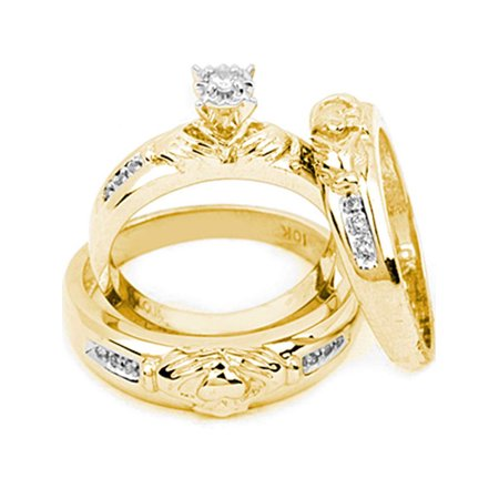 14kt Yellow Gold His & Hers Round Diamond Claddagh Matching Bridal Wedding Ring Band Set 1/8 Cttw