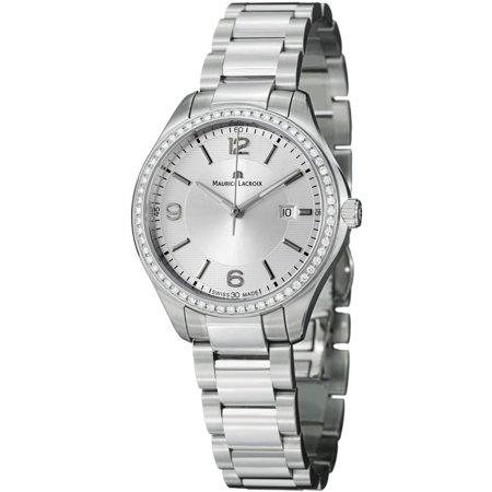 Maurice Lacroix Miros MI1014-SD502-130 32mm  Silver Steel Bracelet & Case  Anti-Reflective Sapphire Women's Watch 130 Maurice Lacroix Watches