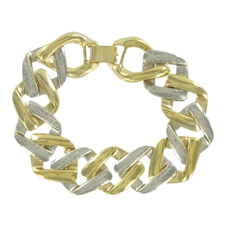(Square Link Two Tone Gold and Silver Tone Chunky Chain Bracelet)