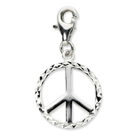 Amore La Vita Sterling Silver Diamond-cut Peace Sign Click-On Lobster Clasp Charm Pendant