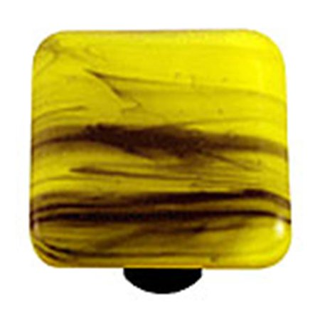 - Hot Knobs HK2056-KA Black Swirl Canary Yellow Square Glass Cabinet Knob - Aluminum Post