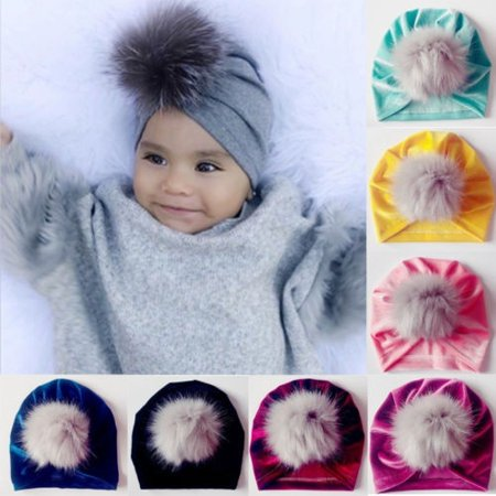 Velvet Turban - Cute Newborn Toddler Kids Baby Boy Girl Turban Velvet Beanie Hat Winter Warm Cap