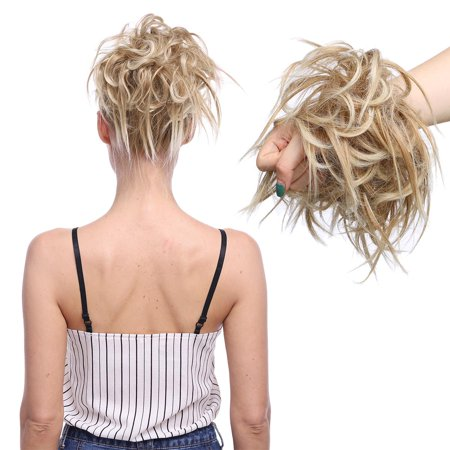 S-noilite Fluffy Messy Wavy Ponytail Bun Scrunchies Tousled Updo Ponytails Hair Extensions Human Made 100% Real Natural Premium Synthetic Hair for Women Lady Dark black,45g ()