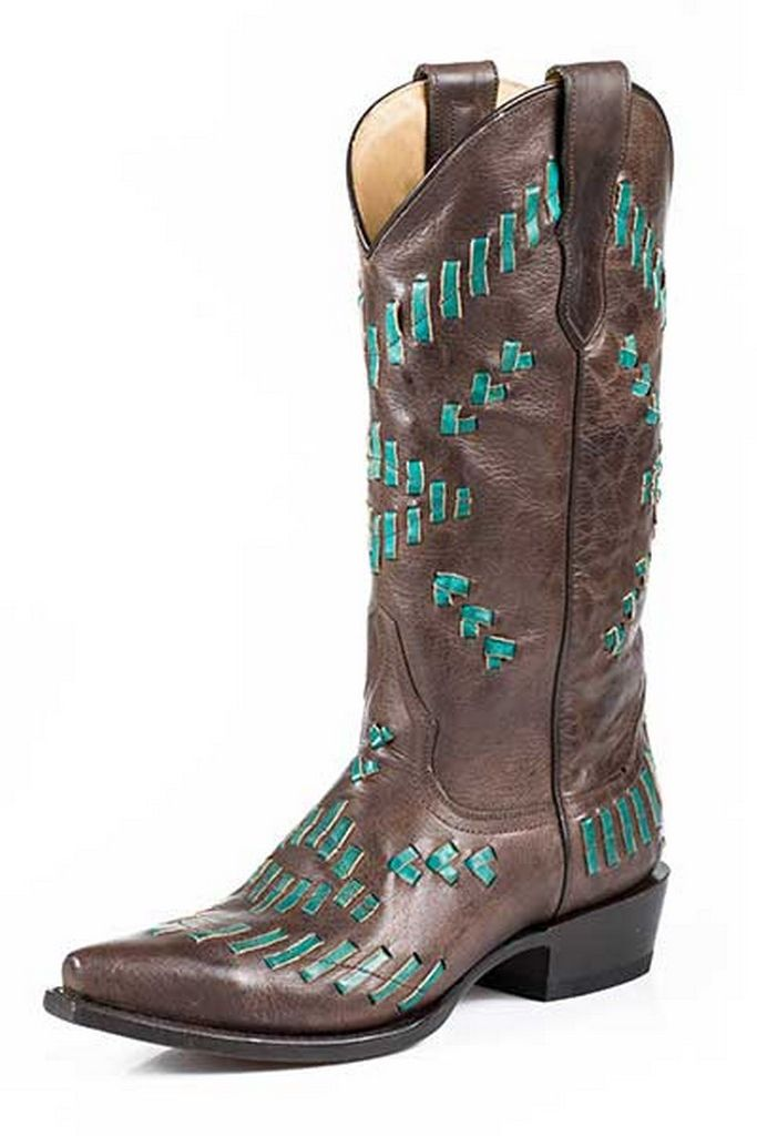 Stetson Western Boot Womens Lace Stitch Brown 12-021-6105-0926 BR