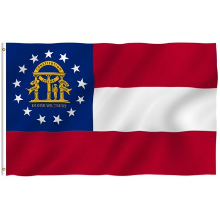 - G128 – 3x5 feet, Georgia State Flag | Embroidered 210D – Indoor/Outdoor, Vibrant Colors, Brass Grommets, Quality Polyester