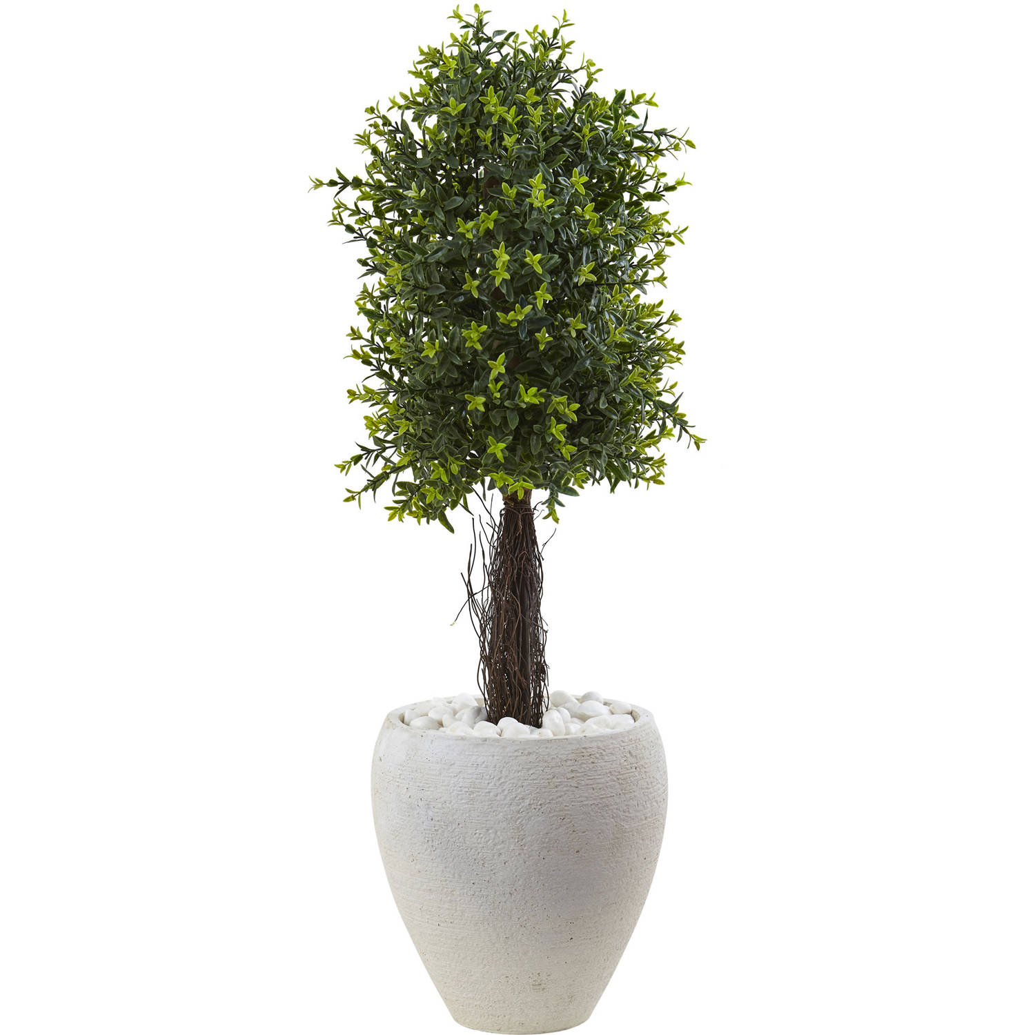 """Nearly Natural 40"""" Ixora Topiary with White Planter UV Resistant (Indoor/Outdoor)"""