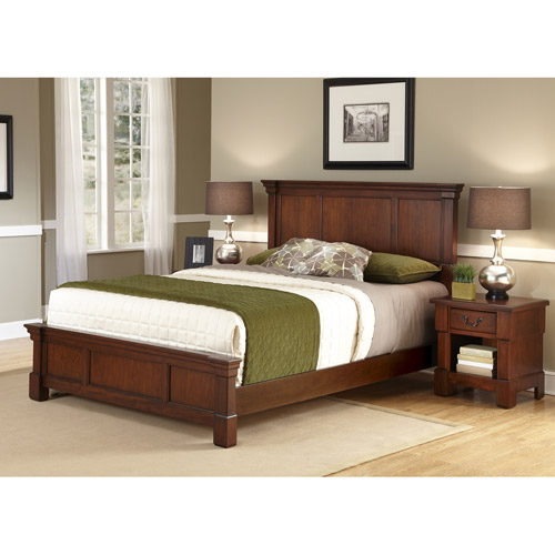 Home Styles The Aspen Collection Queen Bed and Night Stand, Rustic Cherry/Black