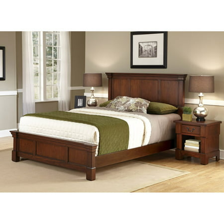 home styles the aspen collection queen bed and night stand rustic cherry black - Queen Bed Frame Black
