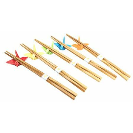 Multi Colored Crane Birds Set of 5 Chopsticks and Rest Set Asian Dining Dinnerware Accessory Chopstick Set For Five Great Housewarming Gift For Sushi Ramen - Chopsticks For Kids