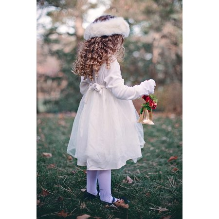 Canvas Print Young Girl Christmas Curls Bell Winter Child Stretched Canvas 10 x