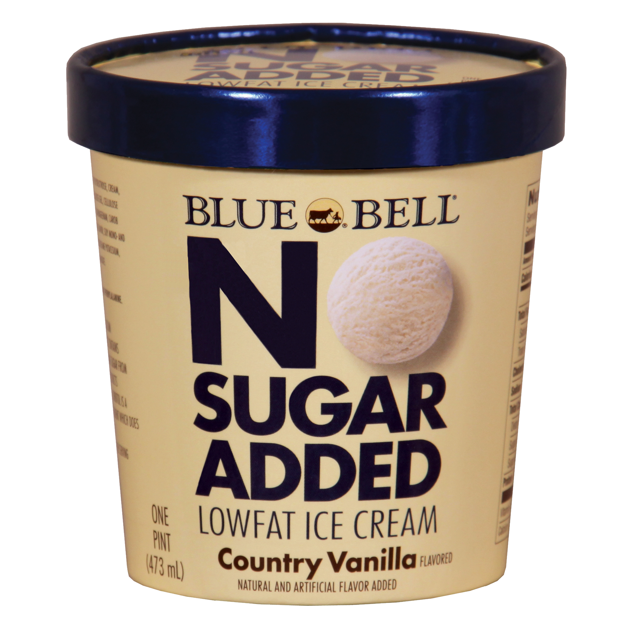 Blue Bell No Sugar Added, Country Vanilla Ice Cream, 16 OZ