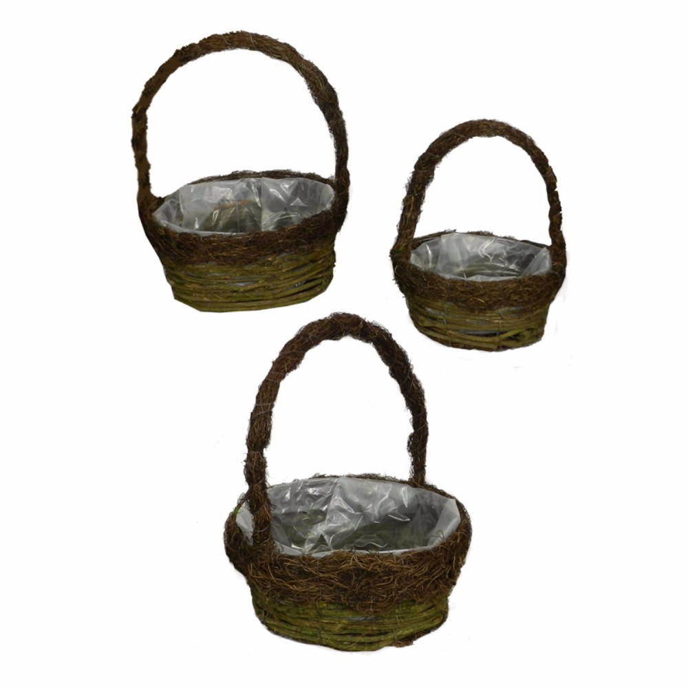 Outstanding 3Piece Rattan And Salim Basket Set, Brown
