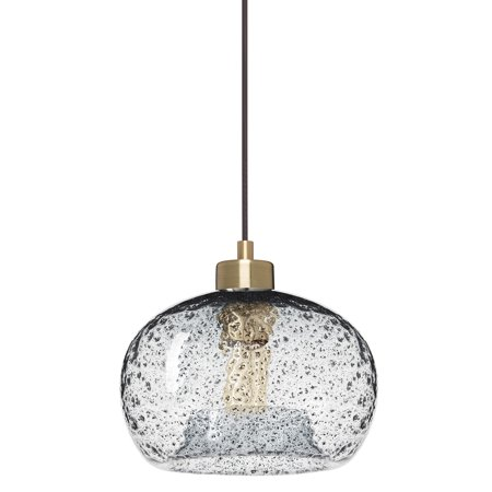 CASAMOTION Mini Pendant Light Handblown Rustic Seeded Glass Hanging Light,Clear,Brushed Brass Fitting