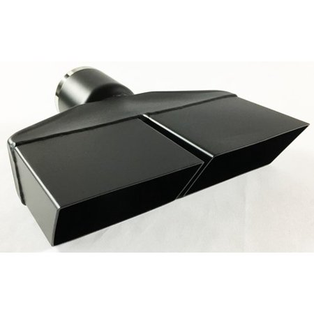 "Exhaust Tip 2.50 in Inlet 8.25"" X 2.25"" Rectangle 8.25 in Lg Dual Slant Split High Temperature Black Stainless Steel WMPRSCH250-BK-SS Wesdon Exhaust Tip"