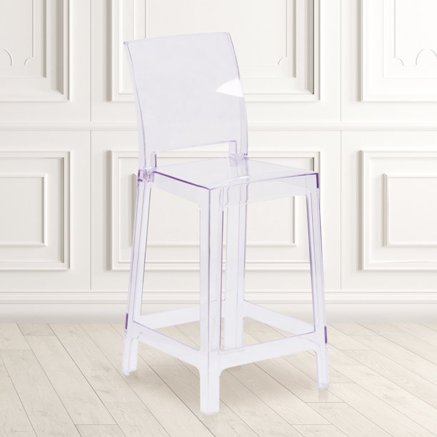 Flash Furniture Ghost Counter Stool in Transparent Crystal with Square Back - Walmart.com - Walmart.com