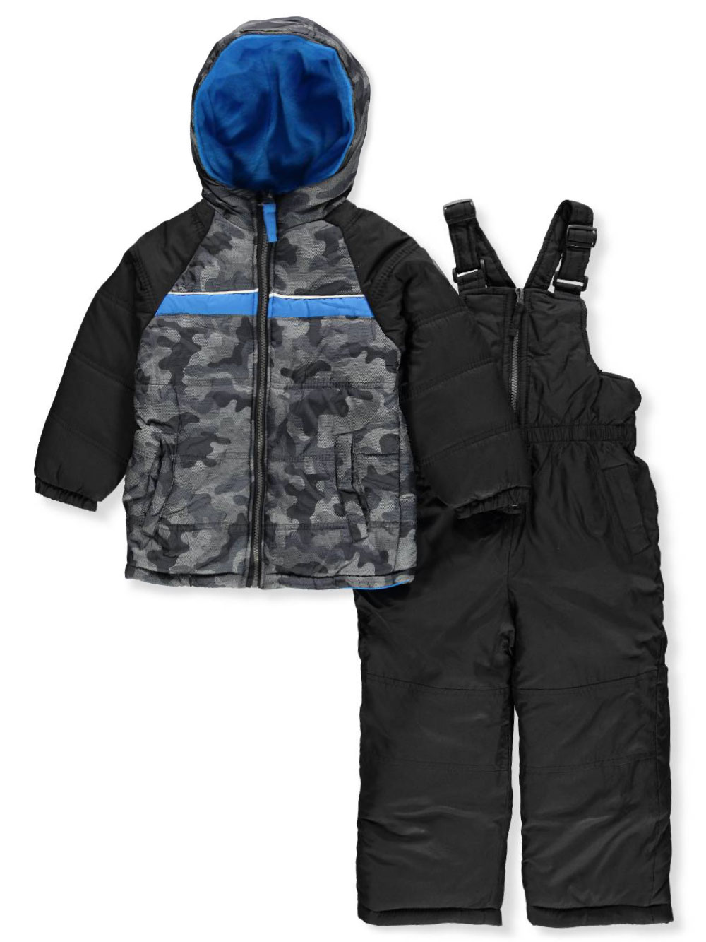 Camo Puffer Jacket Coat & Snowpants Ski Bib, 2pc Snowsuit Set (Baby Boys & Toddler Boys)