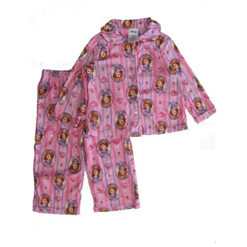 Disney Little Girls Pink Sofia The First Stripe Heart Print 2 Pc Pajama Set 2T
