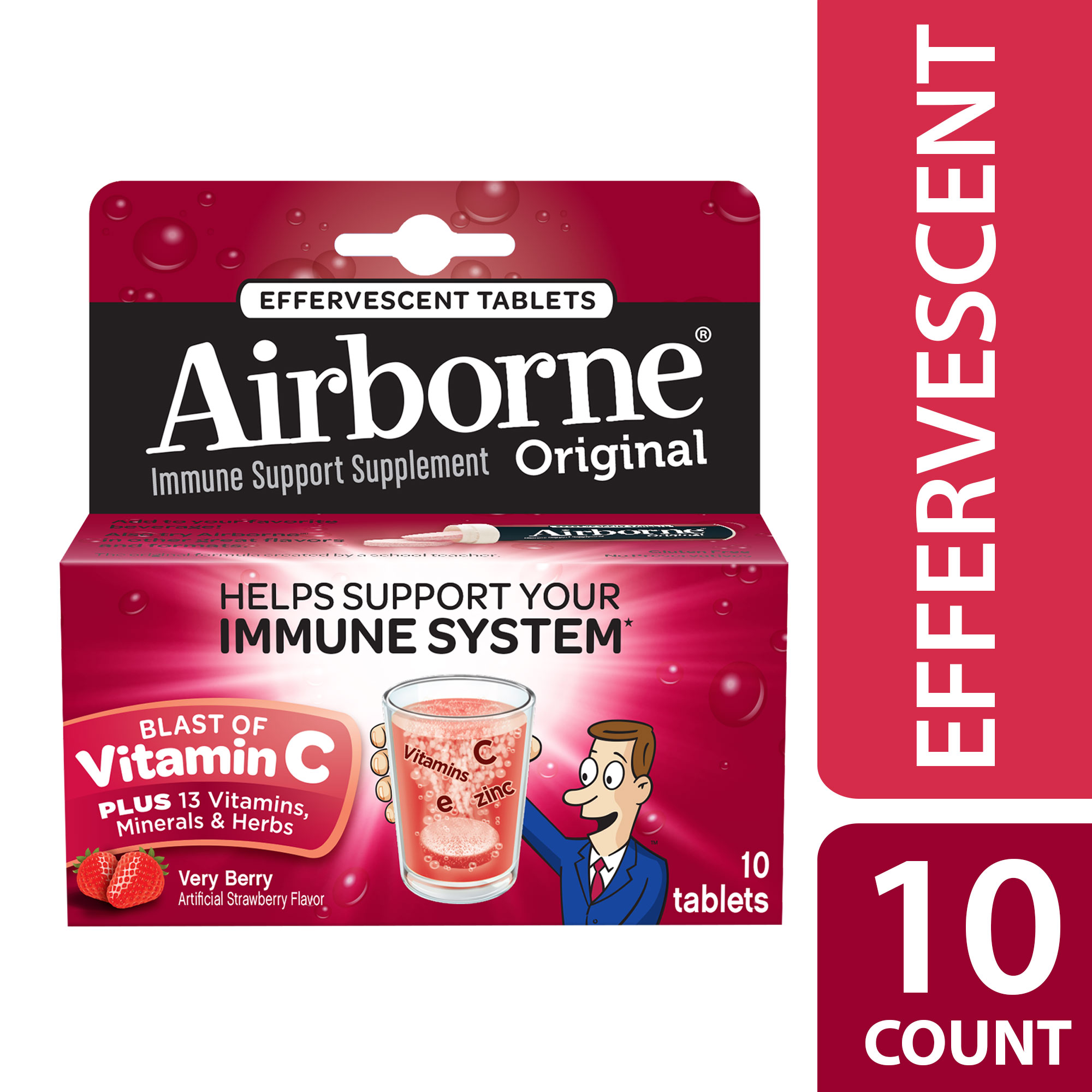 Airborne Immune Support Supplement Dissolving Tablets - Very Berry - 10ct