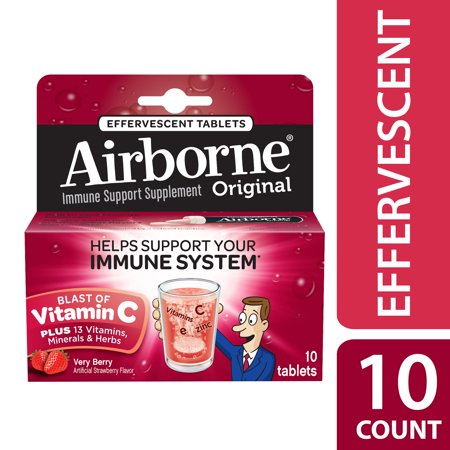 Airborne Very Berry Effervescent Tablets, 1000mg Vitamin C, Immune Support, and Antioxidant Supplements, 10 (Airbourne The Very Best)