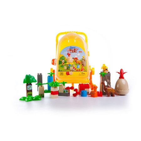 Dimple Childrenâ s 46 Piece Dinosaur Themed Plastic Building Brick Set with Rolling Storage Suitcase