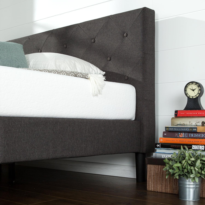 Zinus Shalini 41 Upholstered Platform Bed Frame Dark Grey Full Walmart Com Walmart Com