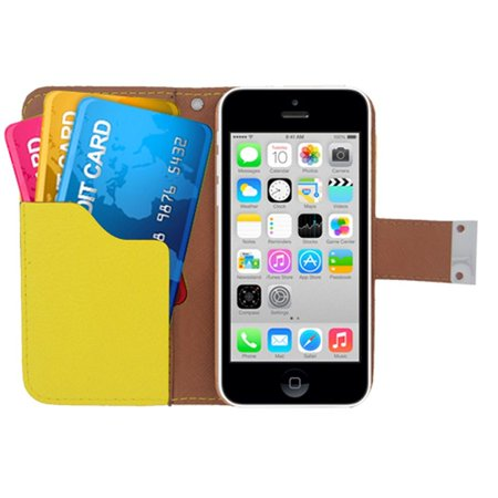 insten Multicolor Folio Flip Leather [Card Holder Slot] Wallet Pouch Case Cover For Apple iPhone 5C, Black/Yellow (Coach Iphone 5c Wallet)