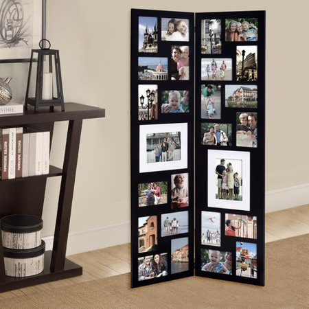 Adeco Trading 26 Opening Decorative Wood Folding Floor Standing Photo Collage Picture Frame