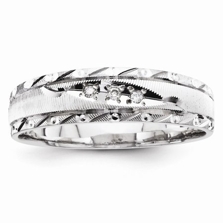 Solid 14k White Gold AA Quality Trio Mens Wedding Band - Size 10