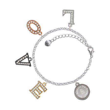 Delight Jewelry Stainless Steel Disc She Believed She Could So She Did Multi-Colored Crystal Love Charm Bracelet