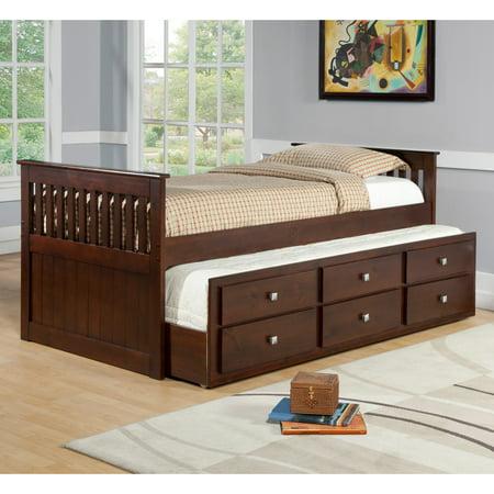 Donco Kids Captains Twin Trundle Bed Walmart Com