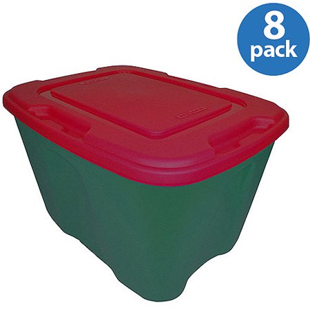 Homz 18 Gallon Red Holiday Storage Tote Set Of 8