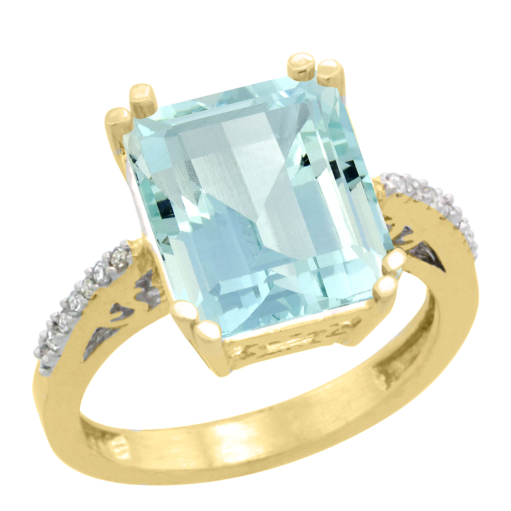 14K Yellow Gold Diamond Natural Aquamarine Ring Emerald-cut 12x10mm, size 6 by Gabriella Gold