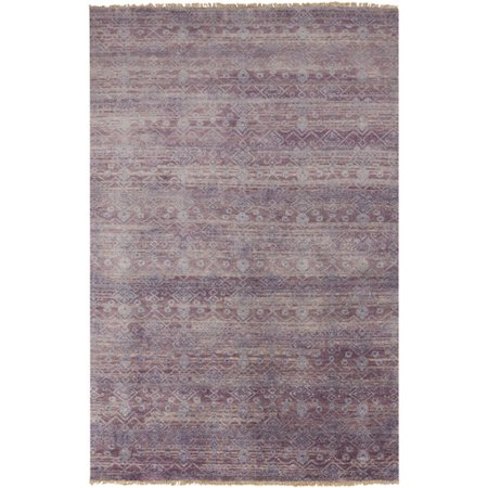 5.5' x 8.5' Majestic Sundown Plum Purple and Light Gray Wool Area Throw Rug