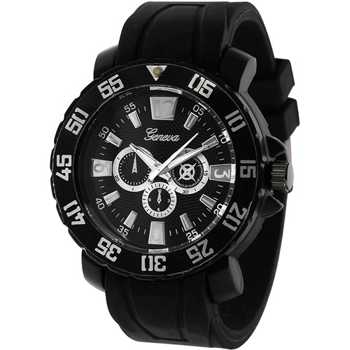 AktionMen's Platinum Watch, Silicone Band